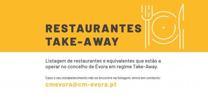 Restaurantes em Évora a trabalhar em regime de venda para fora/take away ou entrega ao domicílio/delivery