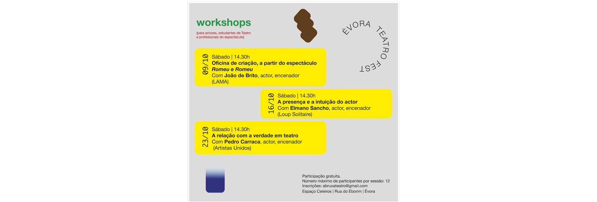 Workshop's com João de Brito, Elmano Sancho e Pedro Carraca | Évora Teatro Fest